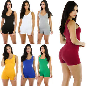 Womens Sleeveless Shorts Romper Jumpsuit Bodysuit Stretch Leotard Yoga Sportwear