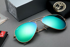 RAY-BAN SMALL AVIATOR GREEN MIRROR W/ MATTE GOLD FRAME SIZE 55MM RB3025 112/19