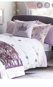 Next Lipsy Pink Girls Teens Confetti Sequin Stars Single Bed Set duvet Set