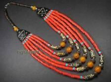 N4192 FASHION Tribal Strand Glass Amber Resin Beads Bovine Bone NECKLACE TIBETAN