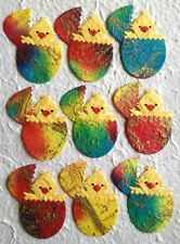 25 Chicks Eggs chick Handmade Diecut Mulberry Paper batik egg Easter Cards