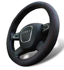 Genuine Leather Steering Wheel Cover for Audi Sedan Universal Fit Black