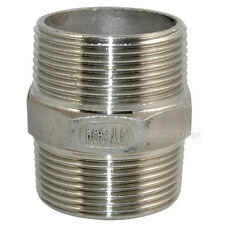 "1-1/2""Male x 1-1/2""Male Hex Nipple Stainless Steel 304 Threaded Pipe Fitting NPT"