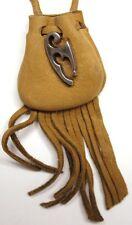 "Tribal design medicine bag- buckskin draw (""Capt Morgan"") charm"