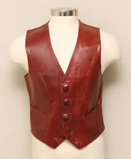 Vintage Mens Rust Red/Brown Leather Vest