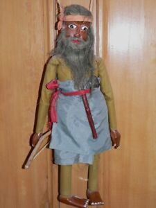 A very old Indian Warrior or Wild Man string puppet - bought in Sri Lanka