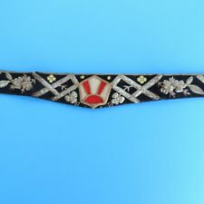 Early Vintage Embroidered Silver & Beaded Black/Red/Cream Velvet Belt 31 1/2""