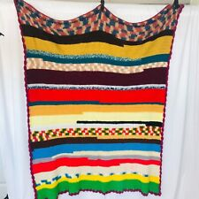 "Vintage Crochet Afghan/Throw Multicolor Striped Blanket Rainbow Handmade 45""x58"""