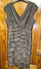 Adrianna Papell Bronze Gold  Cocktail Layered Shutter Stretch Dress Size 12