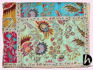 Decorative Kantha Blanket King Size Bedcover Beach Gudari Hand Stitched Coverlet