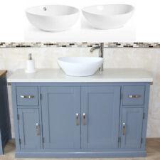 Bathroom Single Vanity Unit Grey Painted Cabinet White Quartz Ceramic Basin 402