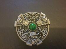 Écossais Celtique nœud pierre verte neuf Design Boucle de ceinture nouveau métal étain