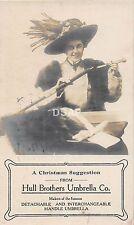 C50/ Toledo Ohio Postcard RPPC c1910 Hull Brothers Umbrella Advertisement Lady