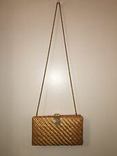 Vintage RODO Italy Glazed Wicker and Gold Evening Bag