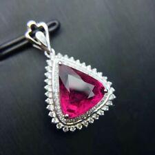 6ct Pear Trillion Cut Ruby Diamond Pendant 14K White Gold Finish No Chain