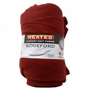 "Biddeford Heated Comfort Knit Throw blanket, 50""x 62"", RED"