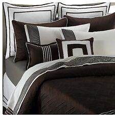 Nautica Boston Square Decor Toss Pillow dark brown ivory off white new 15x15 in