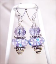 Lavender & Blue Flowers Murano & Lavender Crystal on Sterling Silver Earrings
