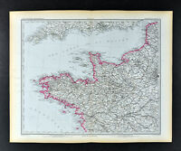 1892 Stieler Map NW France Brittany & Normandy Brest Nantes Le Havre Dieppe Caen