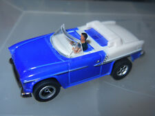 DASH BLUE/WHITE CONVERTIBLE '55 CHEVY SLOT CAR with AUTO WORLD CHASSIS n DRIVER