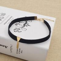Gothic Punk Velvet Choker Collar Gold Triangle Pendant Fashion Necklace Jewelry