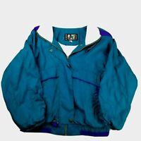 Vintage 90s Women's Size Med River Edge Windbreaker Jacket Teal White and Purple