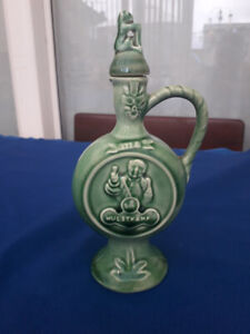Rare Green Liqueur Decanter Flask with Lid 1950's  Gouda Pottery Holland