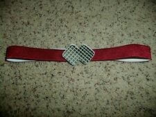 1970s Vintage Elastic Belt, Maroon, Double Diamond-Shaped Mirror Fastener