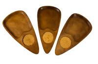 Serer Wood Sweving Tray Set Of 3 Hand Carved Vintage