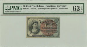 10 Cent Fourth Issue Fractional Currency PMG Choice UNC 63 EPQ Fr #1261