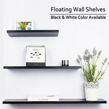 3PCS Wall Floating Shelf Set Shelves Bookshelf Shop Display Black White Shelves