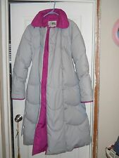 Vintage Sears Jacket Long Down Puffer Gray and Fuscia Coat Womens Size 10