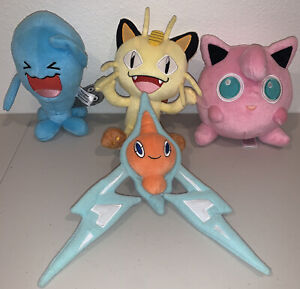 Tomy Pokemon Plush Lot of 4 Wobbuffet Meowth JigglyPuff Rotom 2017 EXCELLENT
