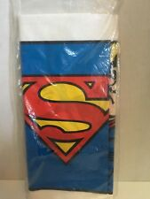 """Superman 54"""" x 96"""" Plastic Table Cover Cloth New In Package America Greetings"""