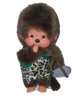 "Vintage Sekiguchi Monchhichi Monkey Plush Caveman Boy 7"" Thumb sucking doll RARE"