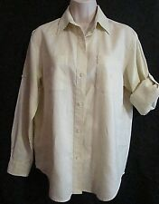 Lauren Ralph Lauren Women's Small IVORY 100% LINEN Convertible L/S Button Shirt