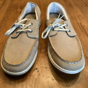 New Margaritaville Soles Of The Tropics Leather Mens Boat Shoes Sz 14 Lace Up...