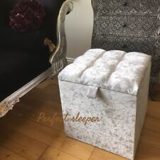 * DRESSING TABLE STOOL SEAT BOX STORAGE IN - White crushed velvet-  OTTOMAN uk