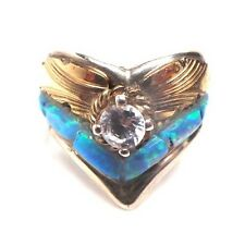 Navajo Sterling Silver&Gold Filled Overlay Blue Opal Inlay Ring Sz 3.5 S.Ray
