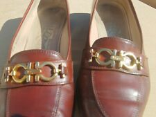 Vintage Salvatore Ferragamo Shoes Brown Leather Flats Loafers Size 7 B