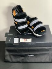 NEW$1200 DOLCE & GABBANA Sneakers Black Leather Fur Shoes Shark Sole EU38 US 7.5