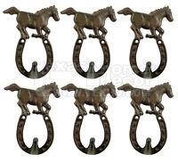 6 Rustic Western Cast Iron Horseshoe Horse Hook Key Coat Hanger Wall Mount Rack