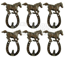6 Rustic Western Cast Iron Horseshoe Horse Hook Key Coat Hanger Wall Mount Rack
