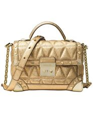 Michael Kors leather Cori Small Trunk Bag gold