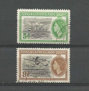 Turks and Caicos 1955 Queen Elizabeth II, used.  Ship, bird, flamingo.  SG235-6