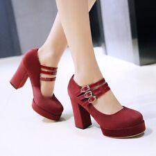 Womens Velvet Buckle Strappy High Block Heel Pumps Platform Elegant Shoes Size