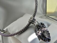 UNIQUE! 79g sterling silver 925 fully HM choker collar amethyst pendant necklace
