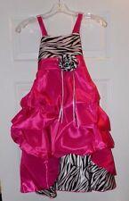 Wonder Girl Sasha Big Girls' Taffeta Zebra High Low Dress 6 Fuchsia