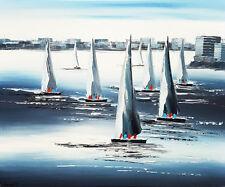 Tableau original, Régate bateaux voiliers art déco, peinture toile avec châssis