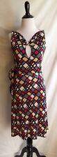 Diane von Furstenberg DVF 2 Retro Silk Jersey Pop Art Geo Print Wrap Front Dress